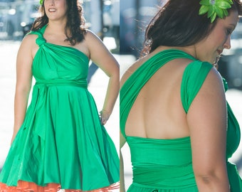 Green Convertible Dress - XS-5XL - 37 Colors - Green Bridesmaids Dress,  Wedding Dress, Bohemian Dress,  Maternity Dress