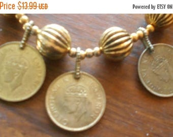 SALE Vintage Beads Coin Necklace Anna India George VI King Emperor