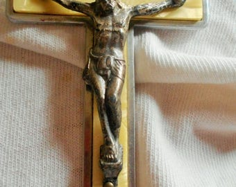 SALE Antique with Mother of Pearl Cross, Vintage Mother of Pearl Cross, Crucifix