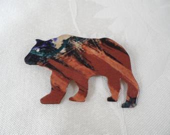 Brown Glazed Enameled Metal Bear Pin Brooch