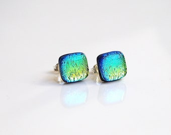 Turquoise Gold Stud Earrings - Turquoise Earrings - Glass Earrings - Fused Dichroic Glass Jewellery - Gold Turquoise Earrings - ES 697