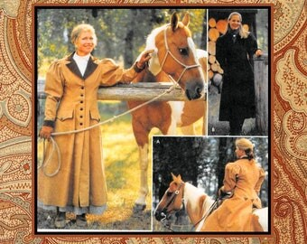 ELEGANT RIDING COAT-Designer Sewing Pattern-Carriage-Buggy Long Coats-Leg-O-Mutton Sleeves-Contrast Collar-Cuffs-Uncut-Size 14-20-Rare