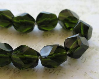 Dark olive green round faceted Czech glass beads 10mm