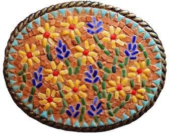 Mosaic Prairie Flowers Belt Buckle, Western Belt Buckle, Southwestern Belt Buckle