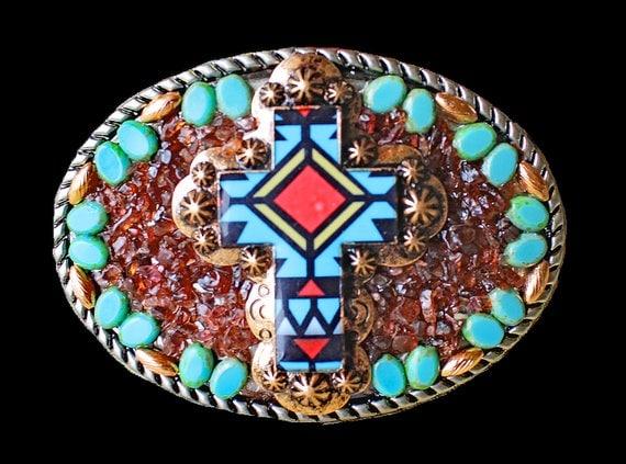 Southwestern Western Zuni Style Mosaic Cross Belt Buckle with Genuine Garnet