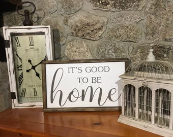 It's good to be home- Framed wood sign - Farmhouse decor - Wood sign - Home decor - Home sign - Good to be home - Housewarming gift - Home