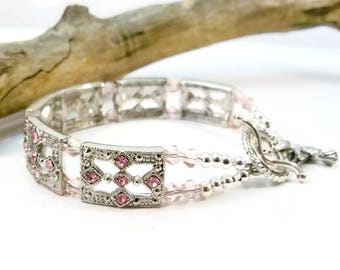 Pink and Silver Crystal Bracelet, Silver Cuff Bracelet, Swarovski Crystal Bracelet, Silver Bracelet, Gifts for Her