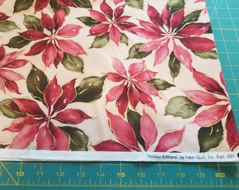 Cotton Holiday Editions Poinsettia Print just over a yard