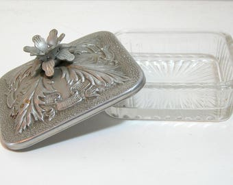 Vintage  Covered Trinket Box, Aluminum Top Glass Trinket Dish