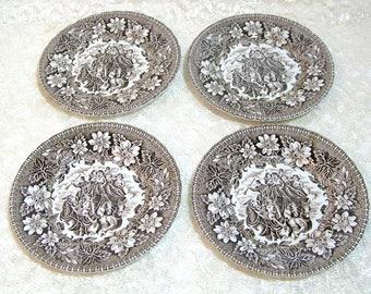 "Coaching Taverns 1828 Royal Tudor Ware Staffordshire England Set of Four 6 1/4"" Plates"