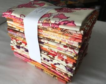 Lilliput Fields RARE Out of Print Tina Givens Fat Quarter Bundle Modern Bohemian Florals Pink Brown Purple piecesofpine