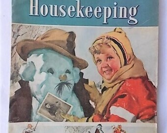 Vintage 1939 Good Housekeeping Magazine Snowman Cover Fashion Architecture Donald Duck