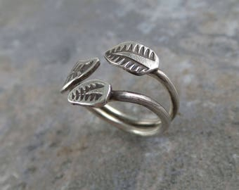Three Leaf Adjustable Ring, Sterling Silver