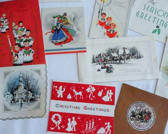 Simply Christmas ALTERED Holiday Cards Choir Boys Victorian Scenes in Vintage Christmas Lot No 1133 Total of 15 Good for Crafts
