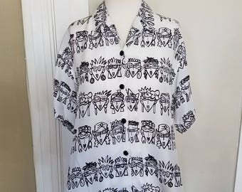 Vintage Collectable Resnicoff ESPRIT short sleeve button down top. Oversize small or medium. (See measurements.)
