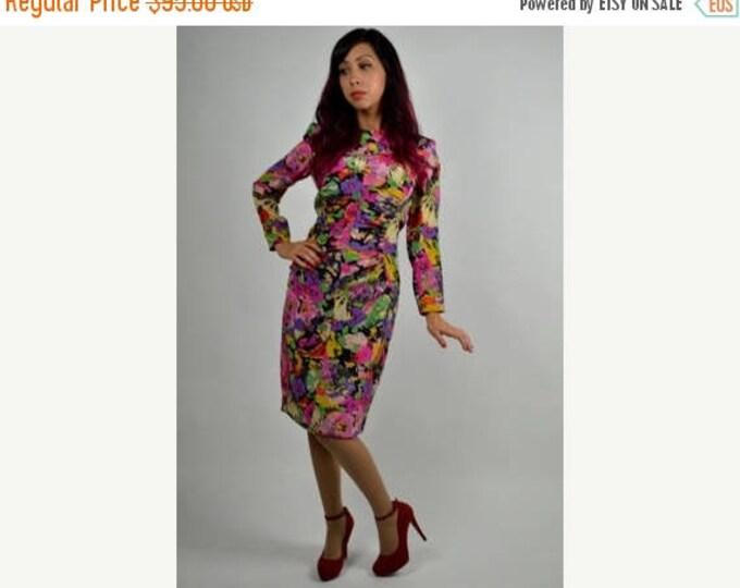 sale Vintage Dress, 80s Dress, Silk Dress, Ungaro Dress, Wiggle Dress, Musical Instruments Print, Floral Print, 1980s Dress, Vintage Ungaro