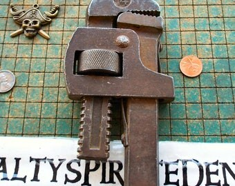old wood handle pipe wrench, rusty, adjustable, steampunk craft supply, found art, industrial