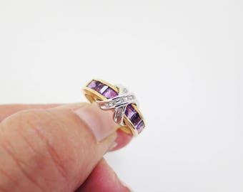Vintage Amethyst Diamond Ring 10K Gold Estate Fine Jewelry Purple Gemstone Birthstone NOS Kiss Band