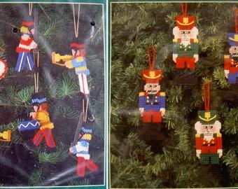 Vintage Bucilla Christmas Ornament Plastic Canvas Kits - Soldiers and Nutcrackers