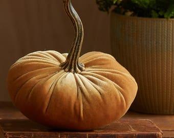 Scented Velvet Pumpkin,  Mustard Gold