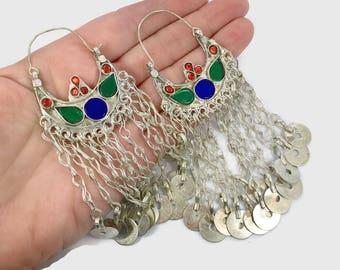 Gypsy Earrings, Hoop Earrings, Boho, Kuchi Earrings, Blue, Red, Green, Silver Hoops, Big Festival, Tribal Afghan, Bohemian, Belly Dance