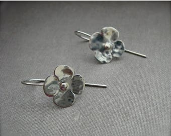 End of Summer SALE Tiny Blossom in sterling silver - hanging or post