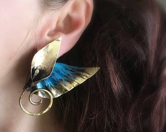 Ready to ship SALE Winged  dagger lily post earrings - edgy deco caribbean blue patina
