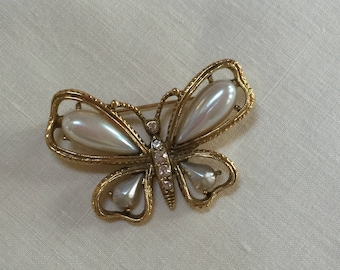 Vintage Pearl Butterfly Brooch or Pin