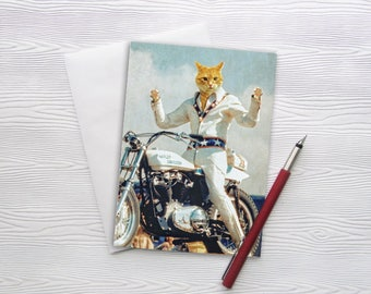 "Greeting Card Note Evel Knievel Cat Orange Cat Animal Photography Motorcycle Gifts Harley Davidson Pet Portrait - Evel ""Cat""nievel"
