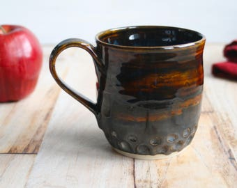 Stoneware Mug with Dripping Rich Brown Glazes 14 oz. Handmade Stoneware Coffee Cup Made in USA Ready to Ship