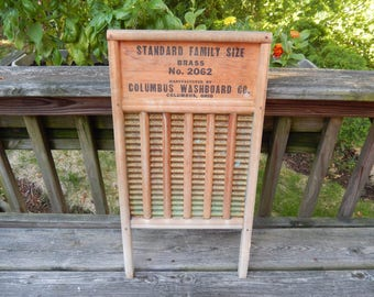 large vintage washboard, Columbus, Maid-Rite, home decor, primitive, vintage laundry