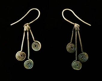 Graduated Spiral Earrings Solid Copper with Verdigris Patina