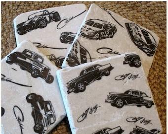 XMASINJULYSale Car Lover Coasters - Absorbent Tile Drink Holders - Black and White Vintage Car design - Man Cave Decor - Father's Day Gift -