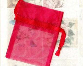 20 x bags ORGANZA Red ❀ 7.5x10cm MAT1326 ❀