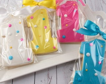 Polka Dot Number One Birthday Cookies - 18 Decorated Sugar Cookie Favors