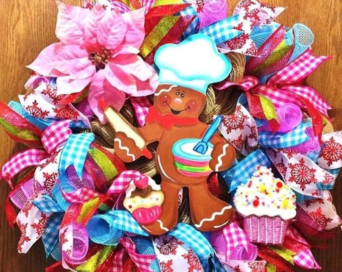 SALE- Ginger Bread Baker Man Christmas - Welcome Door Wreath