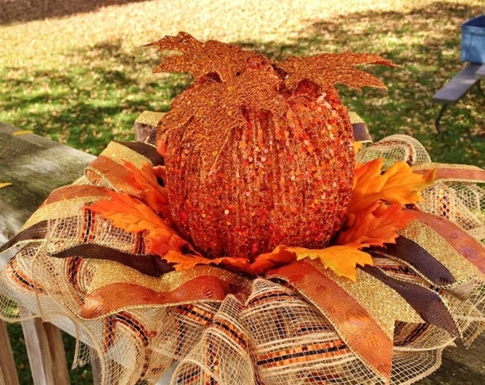 SALE- Fall Pumpkins Leaves - Fall Halloween Centerpiece