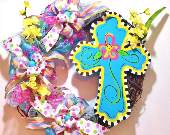 FREE SHIPPING Spring Summer Blue Cross Floral Ribbons - Welcome Door Grapevine Wreath