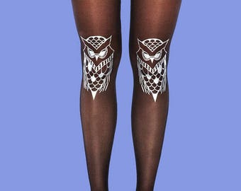 Silver owls tights, sheer black tights, gift ideas, gift for her, holiday gift, women tights, available in S-M, L-XL