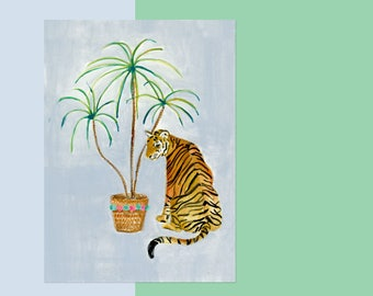 ORIGINAL 5 X 7 Tiger with Plants