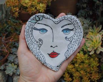 Ceramic dish small round heart girl little dish 1920s inspired