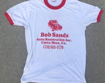 The Vintage 50/50 Bob Sands Auto Repair Costa Mesa California Vintage Tee Tshirt Size Medium