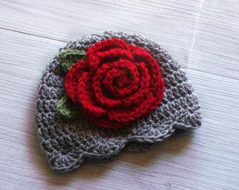 Baby Girls Christmas Hat, Christmas Rose Hat, Crochet Christmas Baby Hat, Baby Winter Hat, Crochet Hat for Babies, Christmas Baby Girl