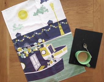 Amsterdam Barge Tea Towel / House Boat Large Dish Cloth / River Boat Tea Towel / Tulip Tea towel