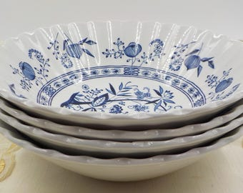 Soup Bowls - Cereal Bowls - Salad Bowls -Set of 4 - English Ironstone - Blue Nordic - J & G Meakin - Made in England - Vintage