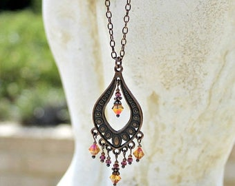 Bohemian Chandelier Necklace, Orange Pink, Vintage Jewel, Antique Copper, Czech Glass