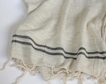 Large Linen Scarf | Soft Linen Shawl with Stripes | Natural Linen Scarf Wrap with Tassels | Summer Shawls for Women | Large Bohemian Shawl