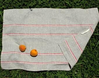 Linen Dish Towels/ Organic Flax Dish Towel/ Grey Linen Dish Towel with Red Stripes/ Heavy Pure Linen Tea Towel/ Rustic Linen Bath Towels