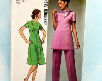 Vintage, 1970s, Sewing Pattern, Simplicity 9358, Misses' Size 12, Dress or Tunic and Pants. Designer Fashion Pattern, Uncut, OLD2NEWMEMORIES