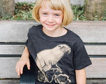 SUMMER SALE Sea Lion on a Bicycle- Kids T Shirt, Children Tee, Handmade graphic tee, sizes 2-12